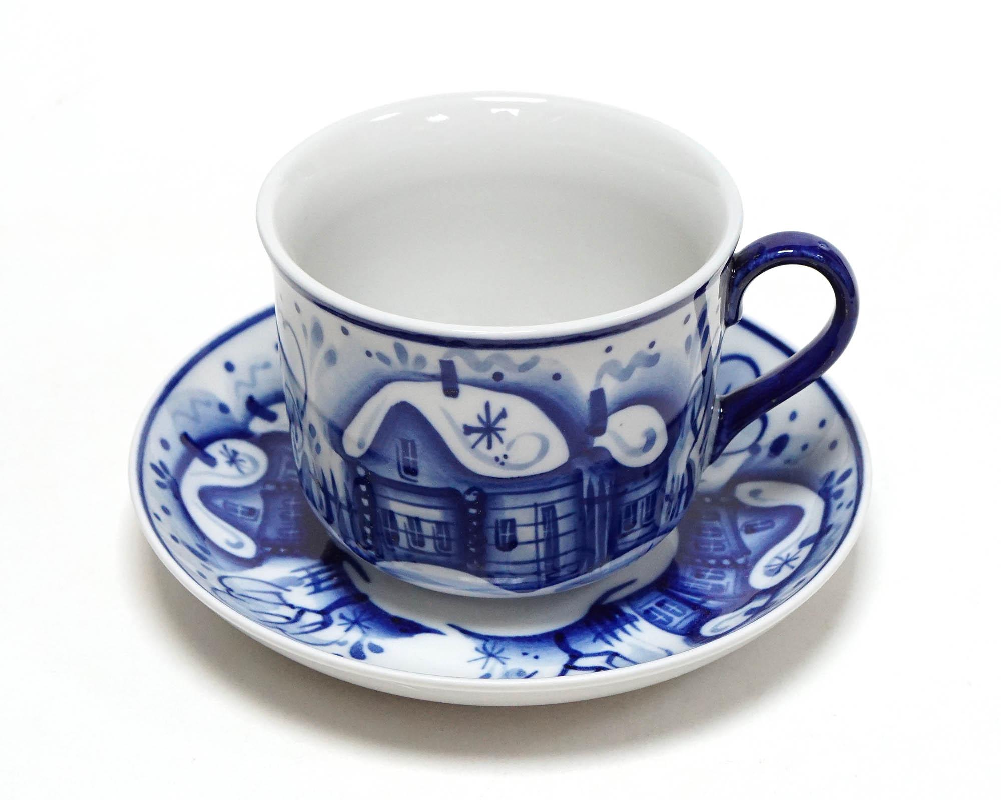 Фото Чашка чайная с блюдцем Гжель 450 мл Ностальгия Зима