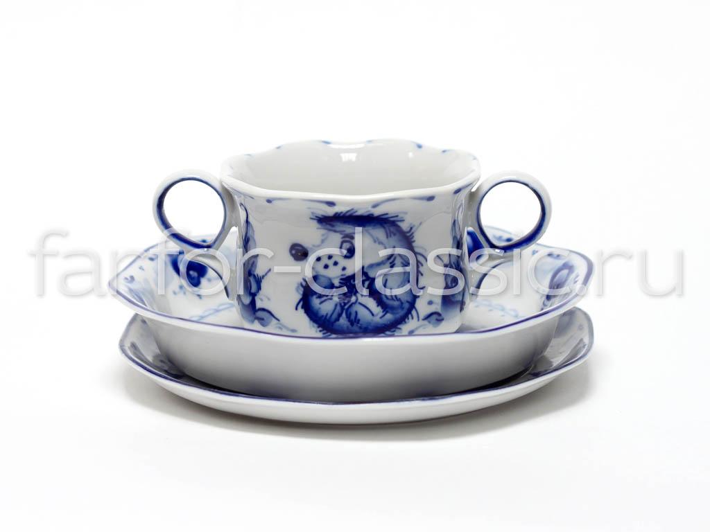 Фото Набор детской посуды малый Гжель Ежик 3 предмета