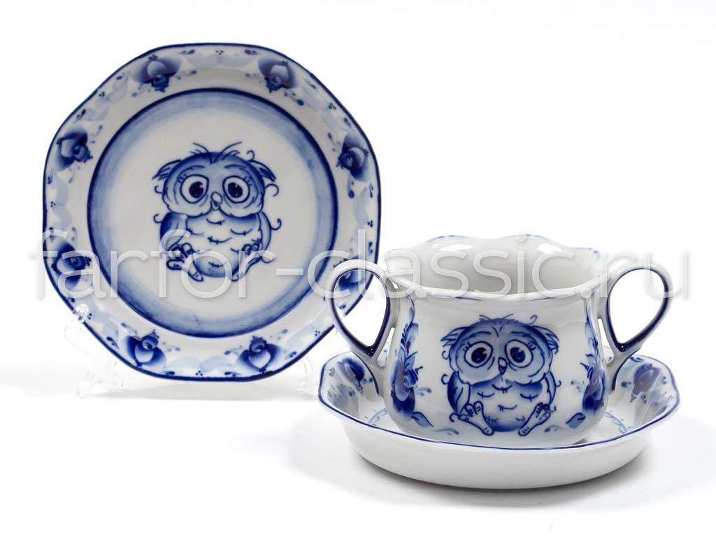 Фото Набор детской посуды Гжель Сова 3 предмета