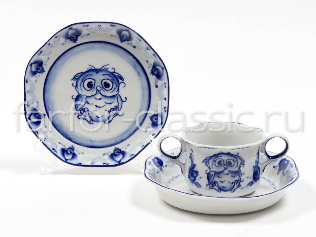 Фото Набор детской посуды малый Гжель Сова 3 предмета