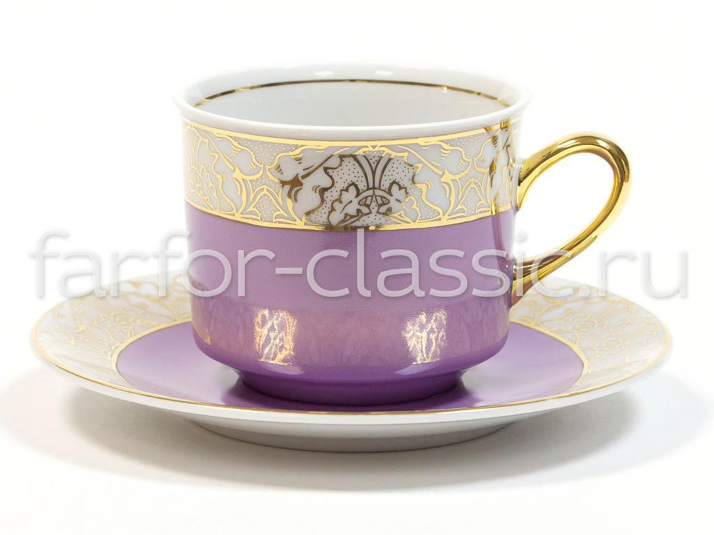 Фото Чашка с блюдцем 200 мл, розовая, Форма Сабина Золотой листопад