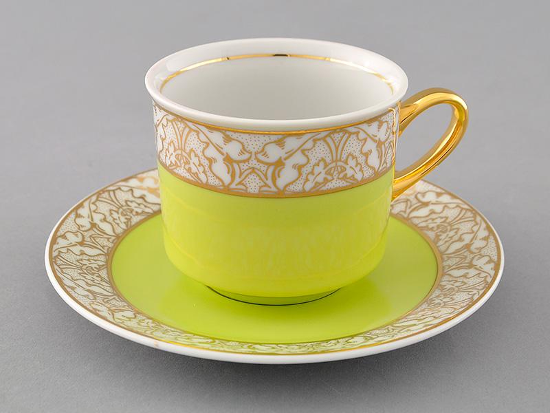 Фото Чашка с блюдцем 200 мл, салатовая, Форма Сабина Золотой листопад