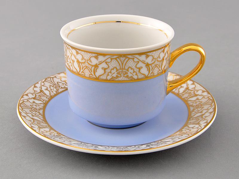 Фото Чашка с блюдцем 200 мл, голубая, Форма Сабина Золотой листопад