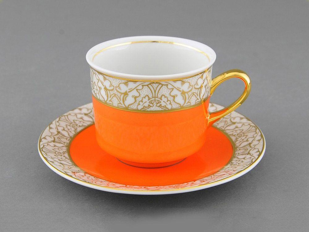 Фото Чашка с блюдцем 200 мл, оранжевая, Форма Сабина Золотой листопад