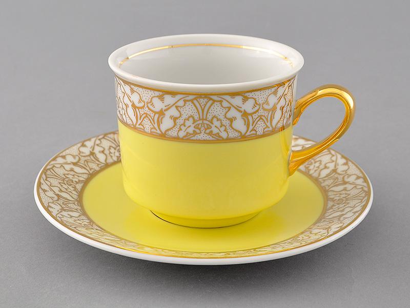 Фото Чашка с блюдцем 200 мл, желтая, Форма Сабина Золотой листопад