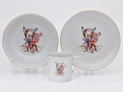 Фото Детский набор посуды Олененок, 3 предмета