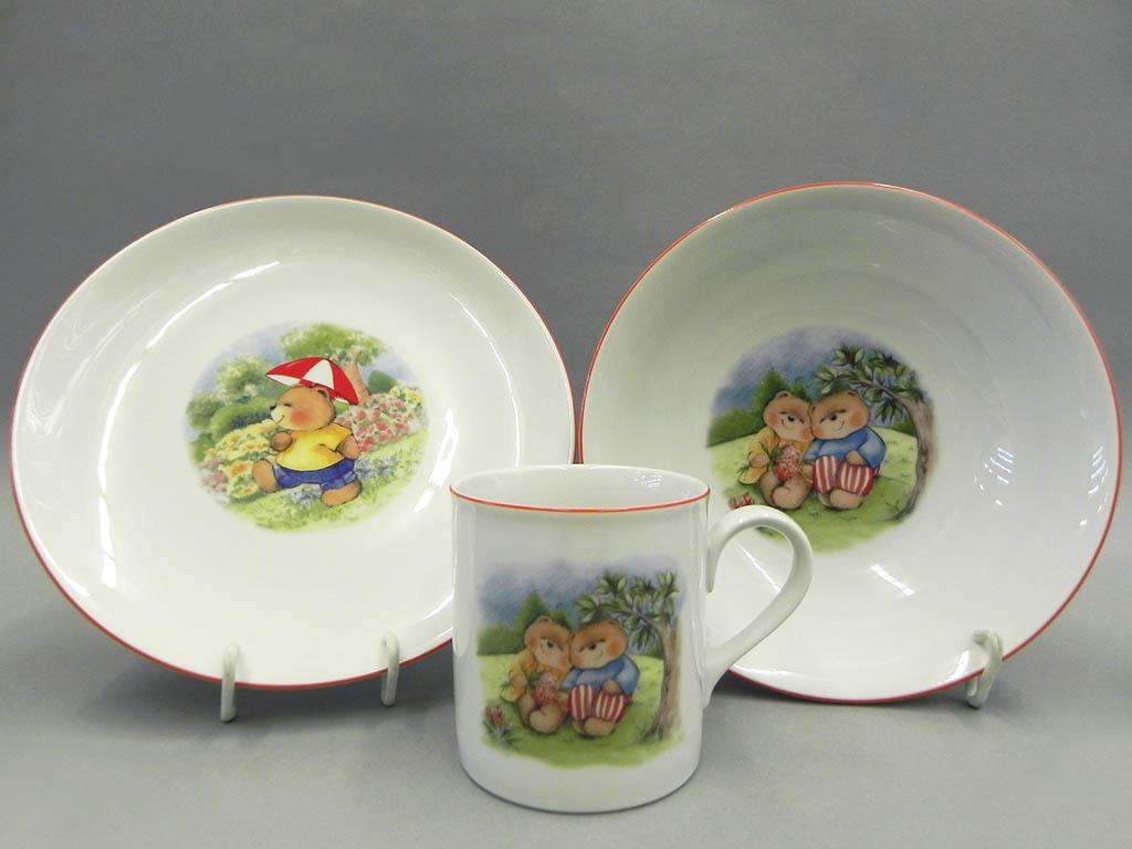 Фото Детский набор посуды Мишки-друзья, 3 предмета