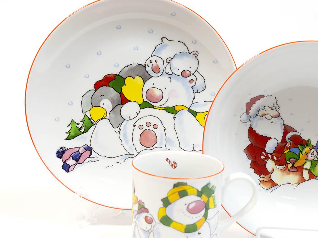Фото Детский набор посуды Санта, 3 предмета