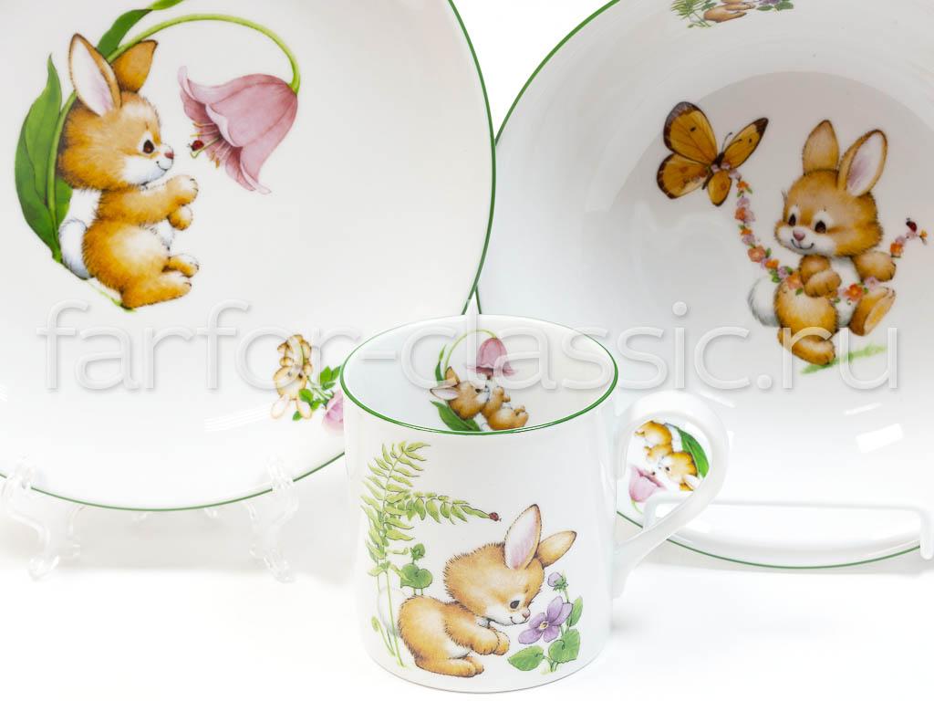 Фото Детский набор посуды Зайка, 3 предмета