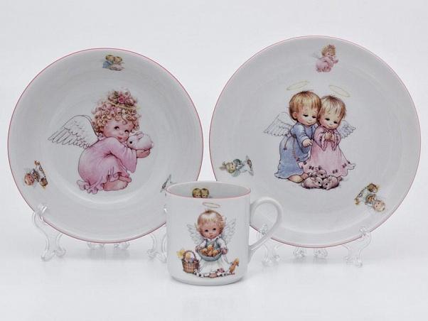 Фото Детский набор посуды Ангелы, 3 предмета