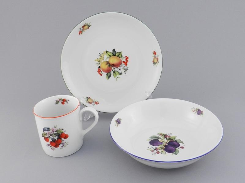 Фото Детский набор посуды Фрукты, 3 предмета