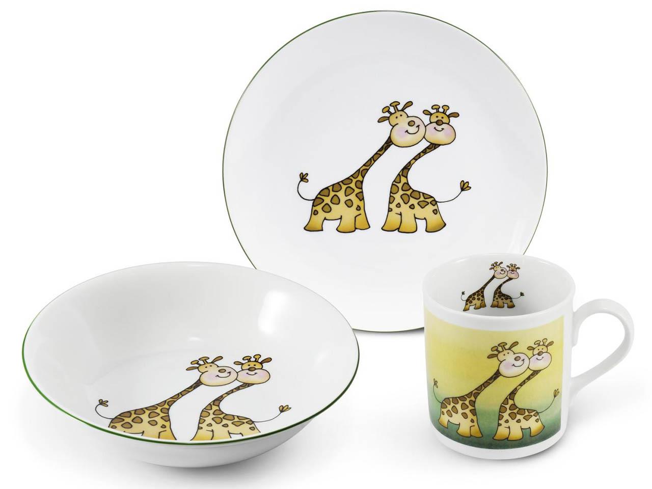 Фото Детский набор посуды Жирафы, 3 предмета