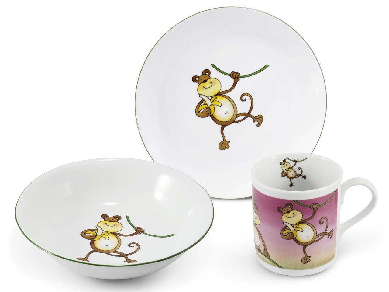 Фото Детский набор посуды Обезьянка, 3 предмета