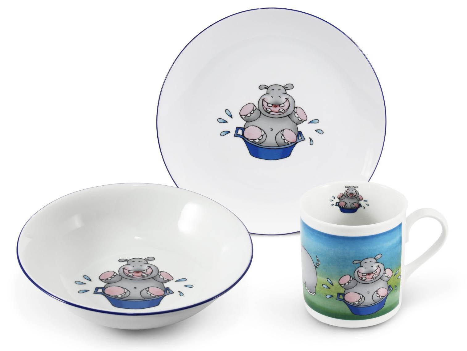 Фото Детский набор посуды Бегемотик, 3 предмета