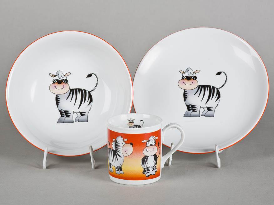 Фото Детский набор посуды Зебра, 3 предмета