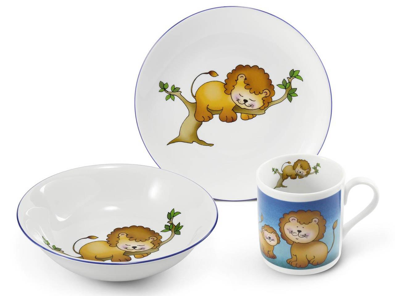 Фото Детский набор посуды Львенок, 3 предмета