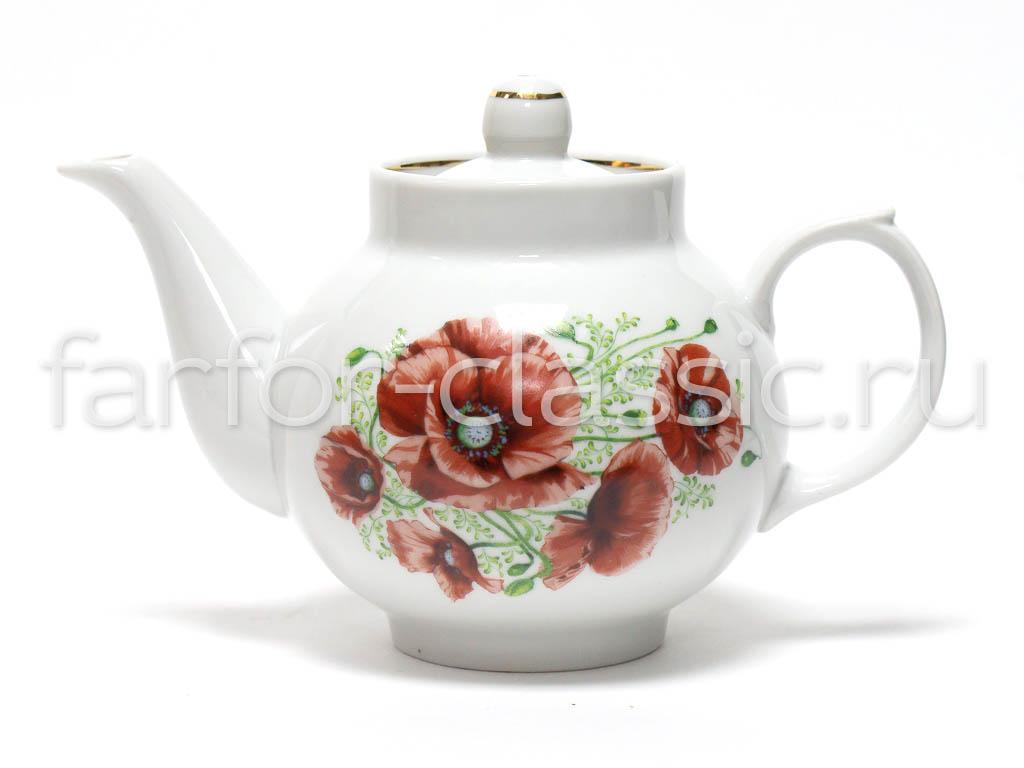 Фото Сервиз чайный Дулево Рубин Маки, 14 предметов