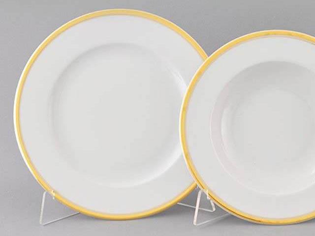 Фото Набор тарелок мелких Леандер 25 см 6 шт, Форма Сабина Золотая лента