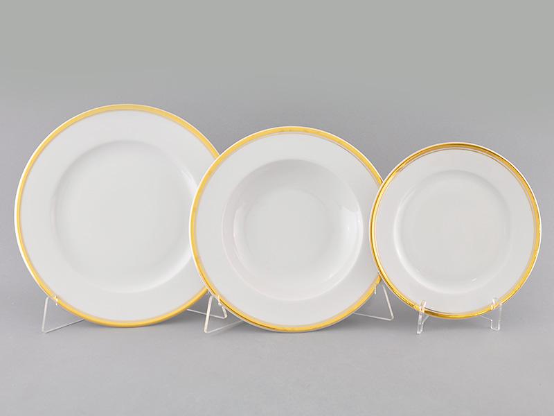 Фото Набор тарелок Леандер 18 предметов с десертной тарелкой 19 см, Форма Сабина Золотая лента