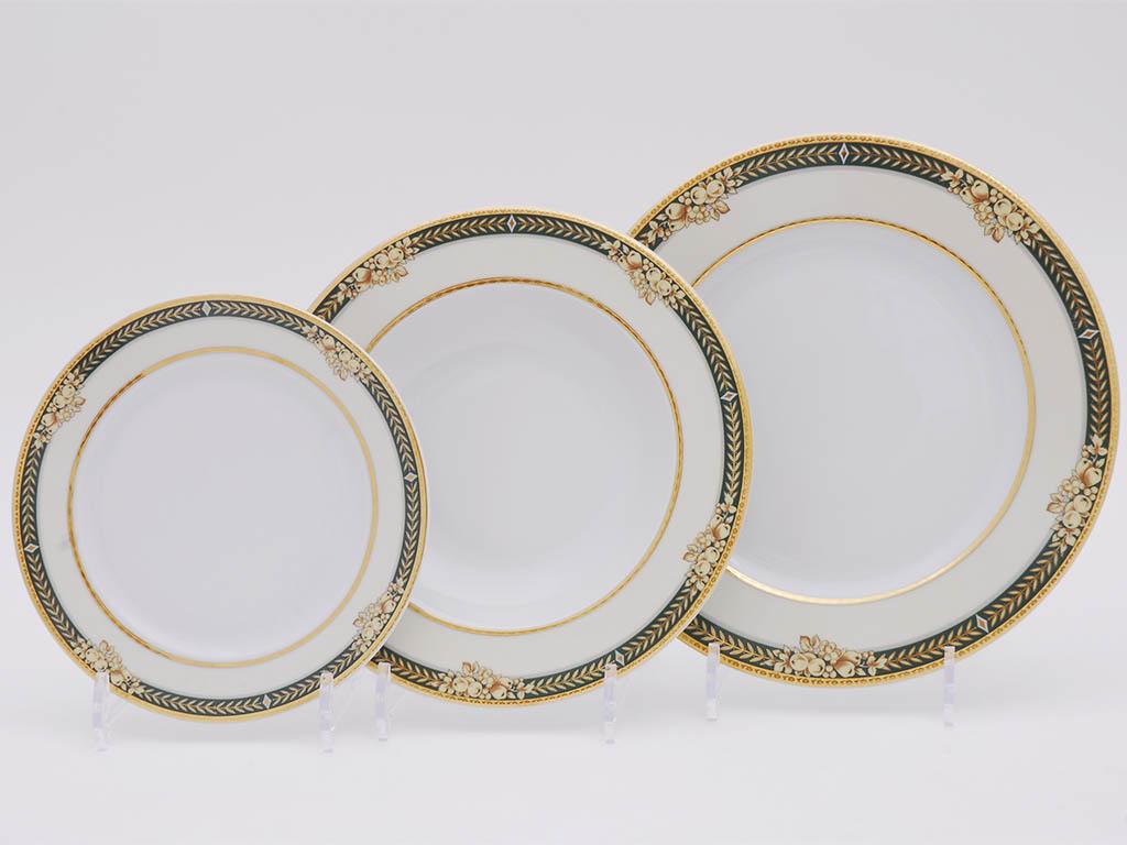 Фото Набор тарелок Леандер 18 предметов с десертной тарелкой 19 см, Форма Сабина Фруктовый сад