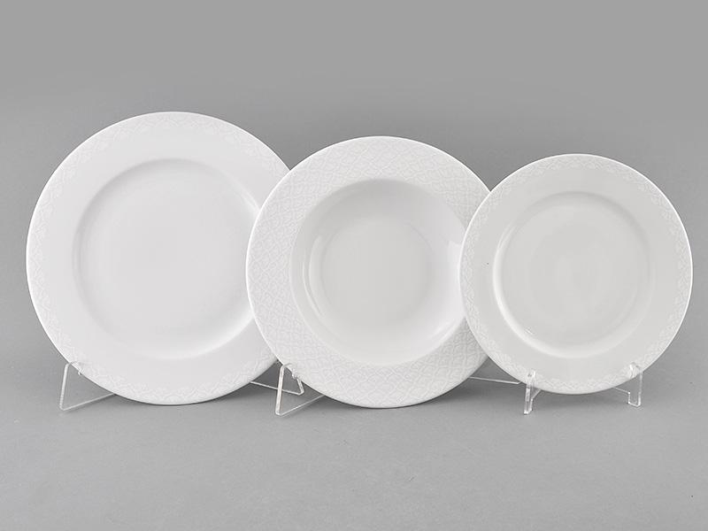 Фото Набор тарелок Леандер 18 предметов с десертной тарелкой 19 см, Форма Сабина Белая лилия