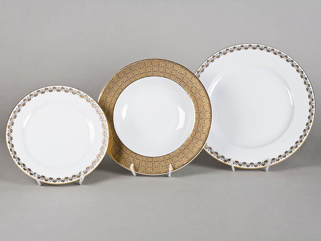 Фото Набор тарелок Леандер 18 предметов с десертной тарелкой 19 см, Форма Сабина Золотая лилия