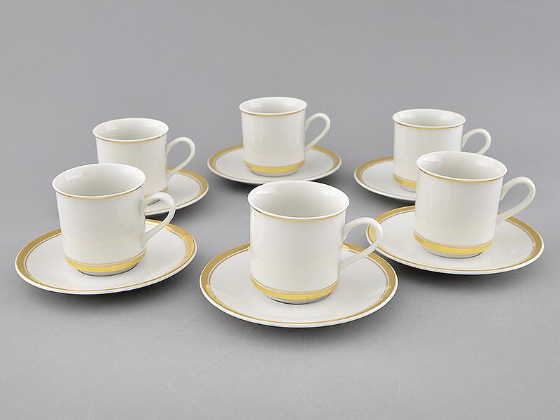 Фото Набор чашек кофейных с блюдцем 150 мл, 6 шт Форма Сабина Золотая лента