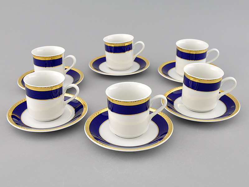 Фото Набор чашек кофейных с блюдцем 150 мл, 6 шт Форма Сабина Золотой колос