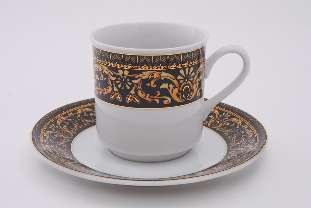 Фото Набор чашек кофейных с блюдцем 150 мл, 6 шт Форма Сабина Флоренция антик