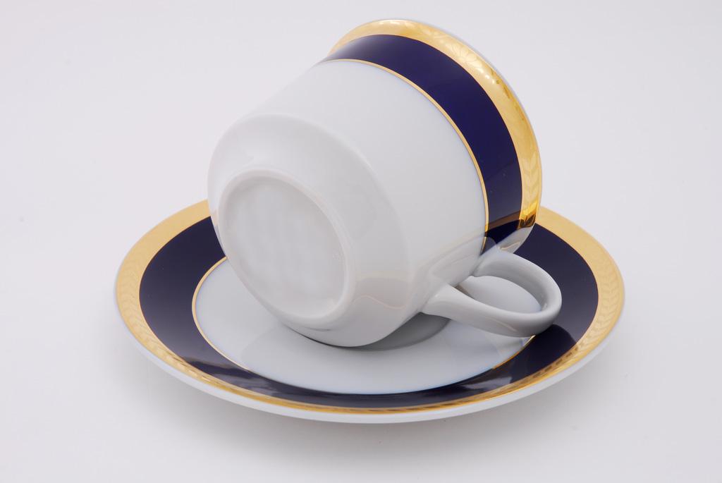 Фото Набор чашек высоких с блюдцем 200 мл, 6 шт Форма Сабина Золотой колос