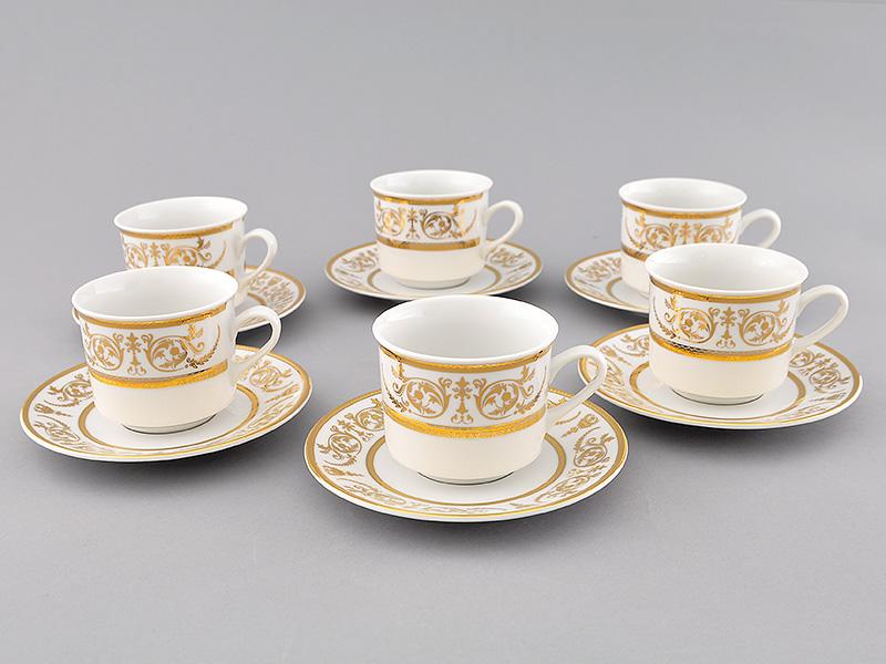 Фото Набор чашек высоких с блюдцем 200 мл, 6 шт Форма Сабина Королевский золотой