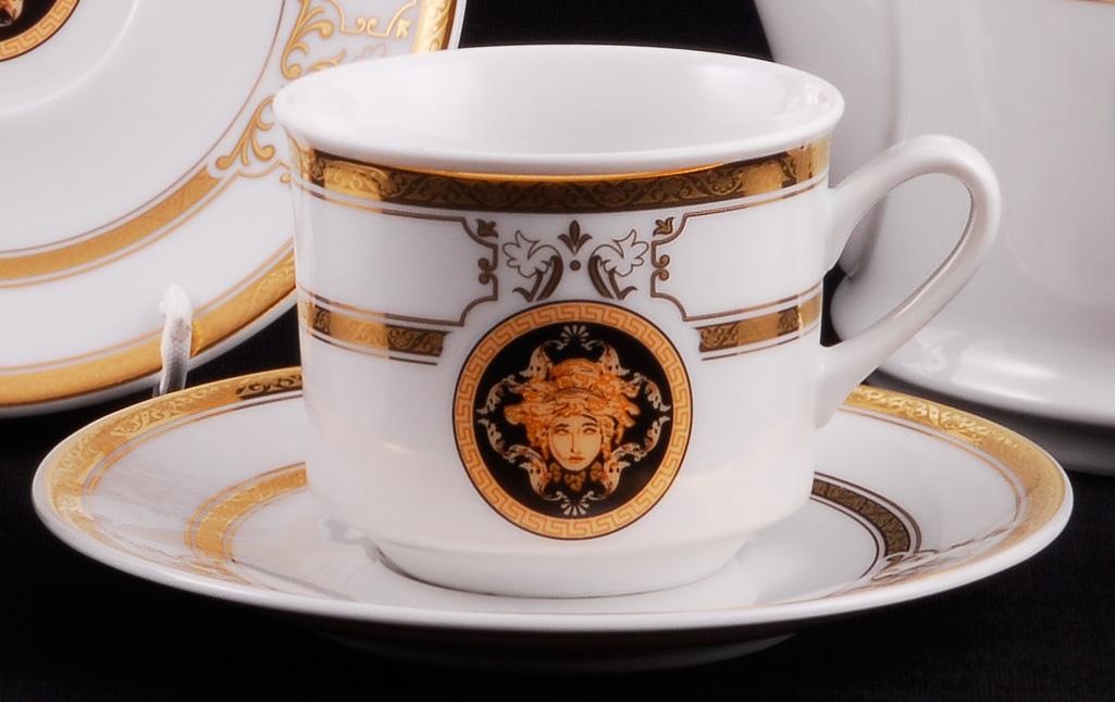 Фото Набор чашек высоких с блюдцем 200 мл, 6 шт Форма Сабина Венеция антик
