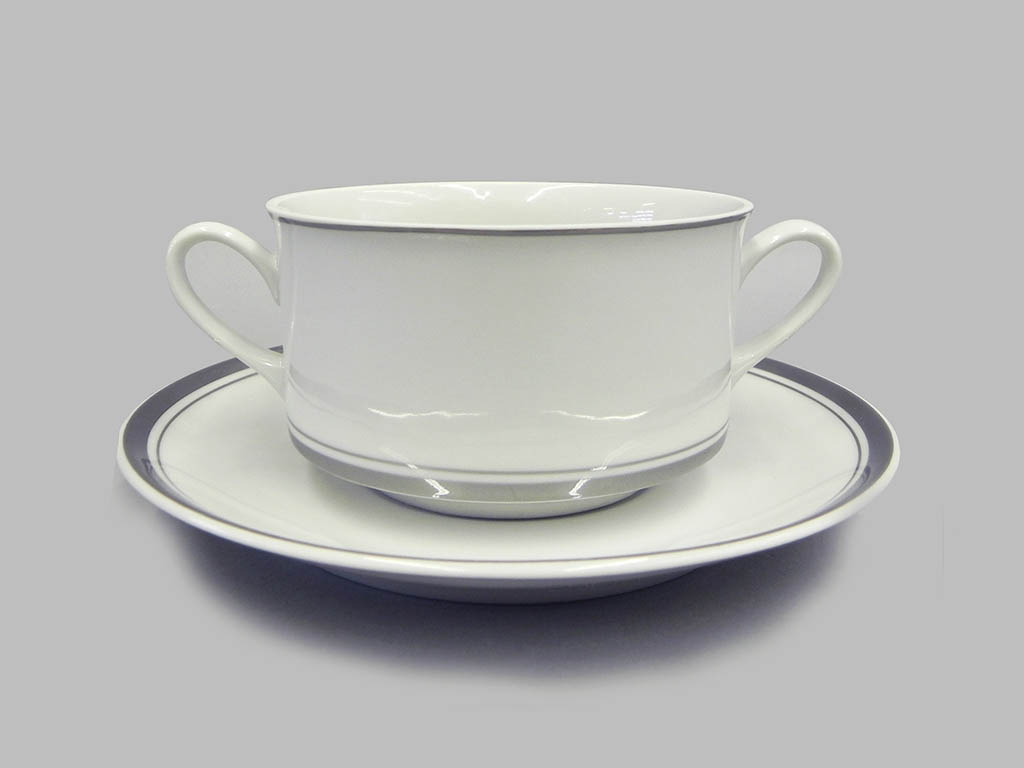 Фото Набор чашек для супа с блюдцем, 2 ручки, 300 мл, 6шт Форма Сабина Айсберг