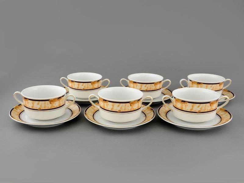 Фото Набор чашек для супа с блюдцем, 2 ручки, 300 мл, 6шт Форма Сабина Дезире