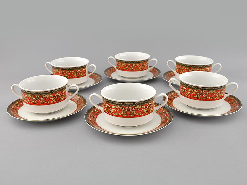 Фото Набор чашек для супа с блюдцем, 2 ручки, 300 мл, 6шт Форма Сабина Милан