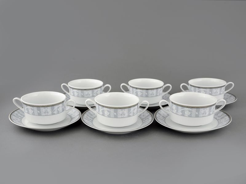 Фото Набор чашек для супа с блюдцем, 2 ручки, 300 мл, 6шт Форма Сабина Уэльс