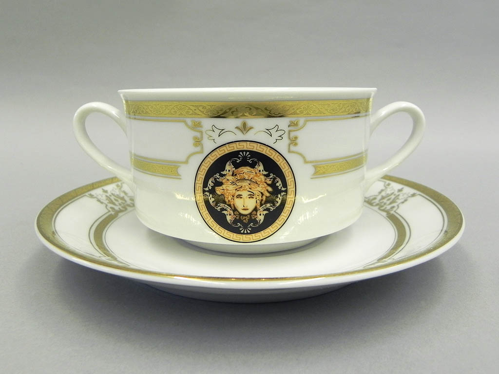 Фото Набор чашек для супа с блюдцем, 2 ручки, 300 мл, 6шт Форма Сабина Венеция антик