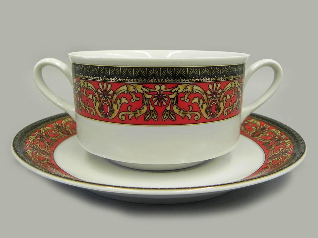 Фото Набор чашек для супа с блюдцем, 2 ручки, 300 мл, 6шт Форма Сабина Милан антик