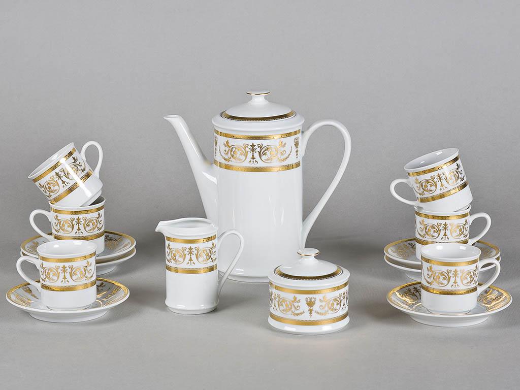 Фото Сервиз кофейный 15 предметов на 6 персон, чашки 100 мл, Форма Сабина Королевский золотой