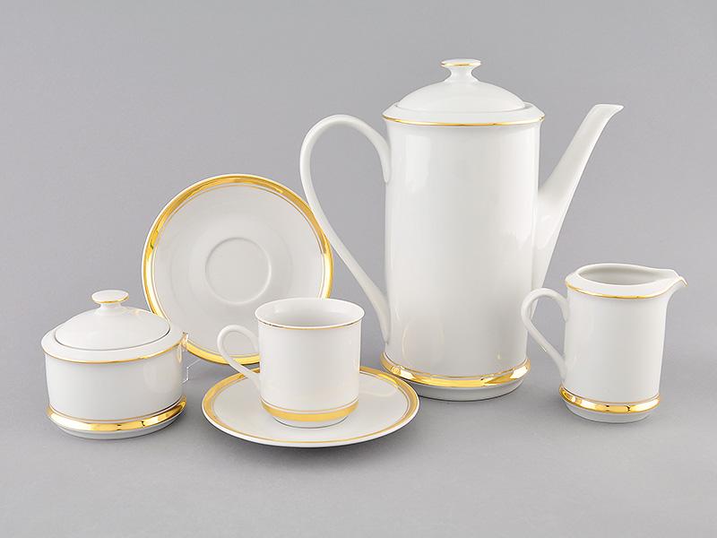 Фото Сервиз кофейный Леандер 15 предметов на 6 персон, чашки 150 мл, Форма Сабина Золотая лента