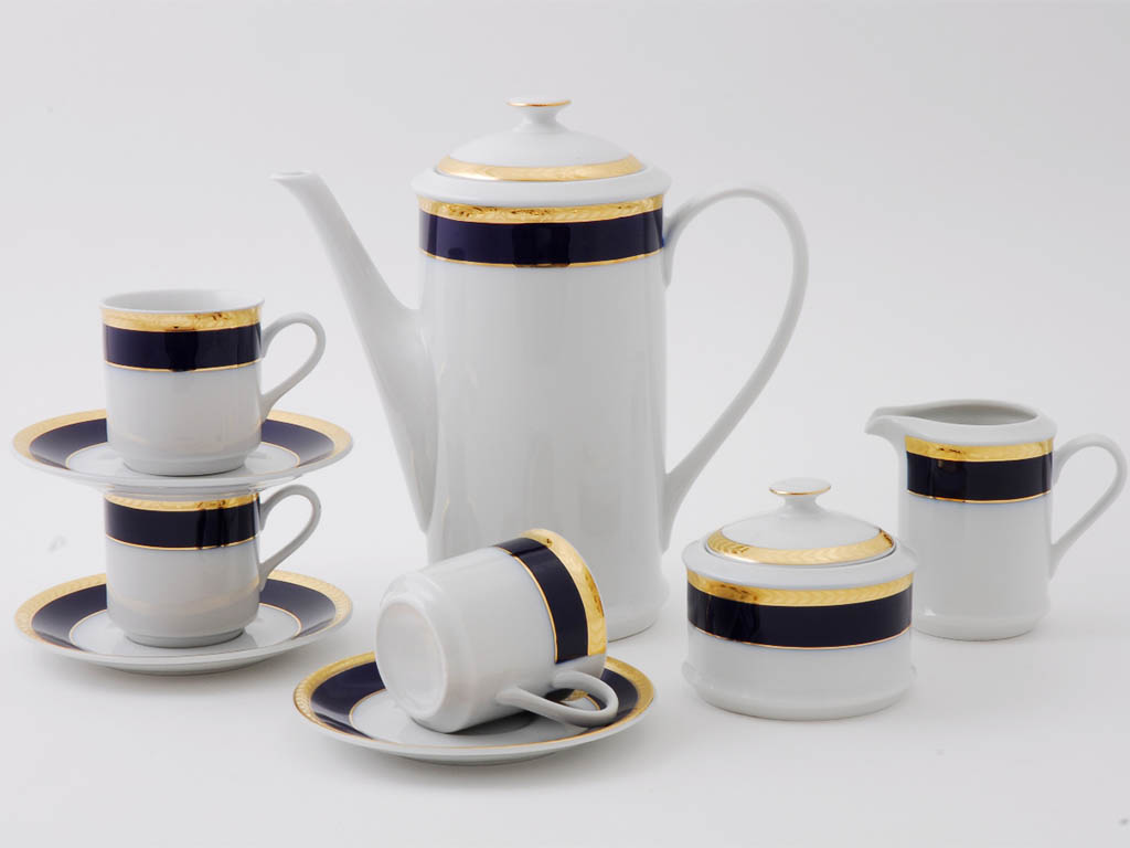 Фото Сервиз кофейный Леандер 15 предметов на 6 персон, чашки 150 мл, Форма Сабина Золотой колос