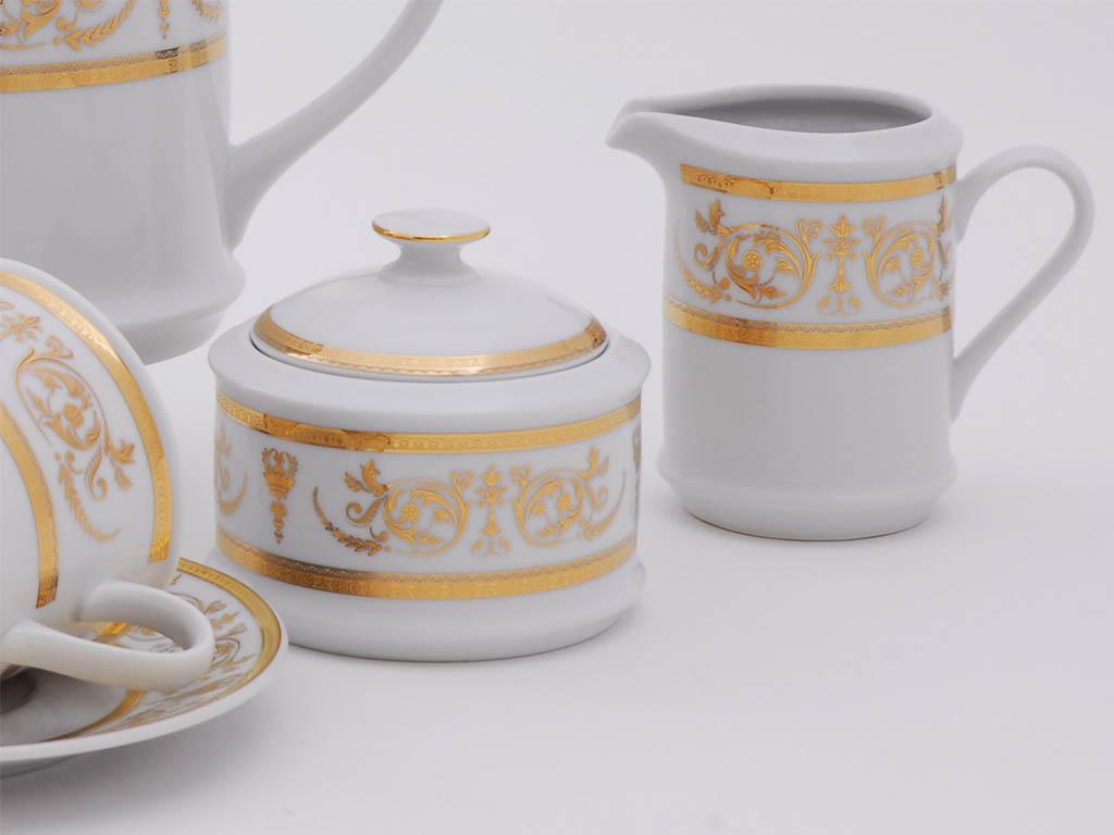Фото Сервиз кофейный Леандер 15 предметов на 6 персон, чашки 150 мл, Форма Сабина Королевский золотой