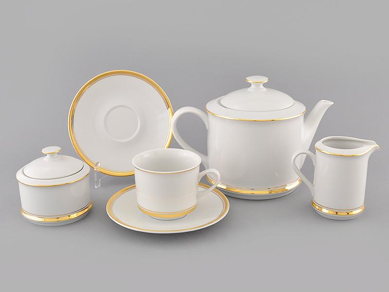 Фото Сервиз чайный Леандер 15 предметов на 6 персон, Форма Сабина Золотая лента