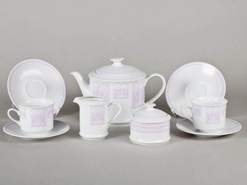 Фото Сервиз чайный 15 предметов, на 6 персон, лиловый, Форма Сабина Витраж