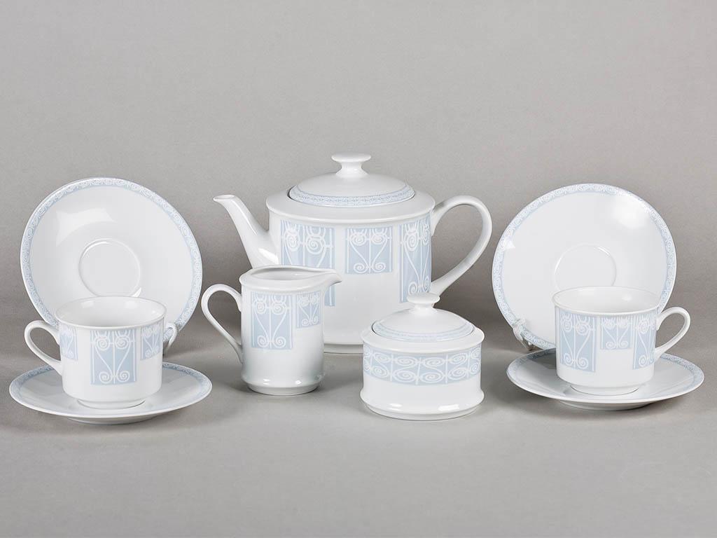 Фото Сервиз чайный 15 предметов, на 6 персон, голубой, Форма Сабина Витраж