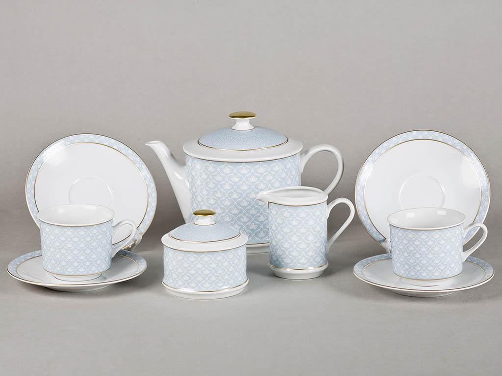 Фото Сервиз чайный 15 предметов, на 6 персон, Форма Сабина Голубая лилия