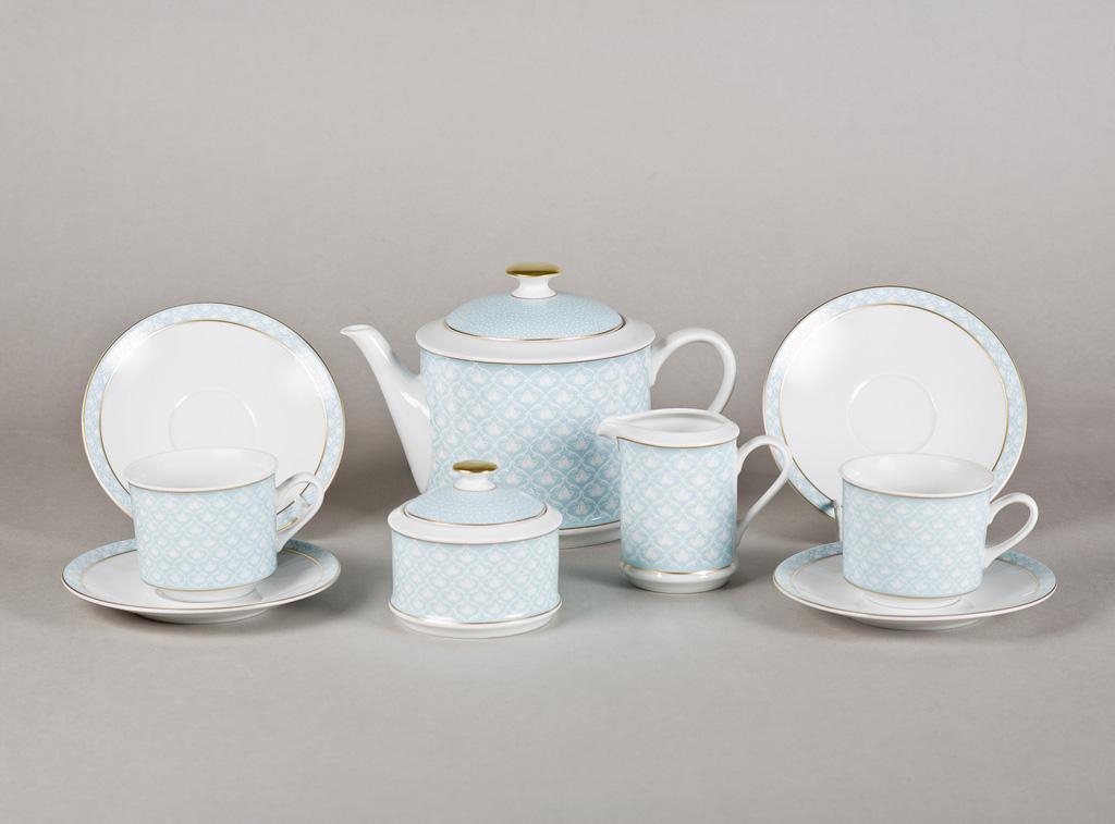Фото Сервиз чайный 15 предметов, на 6 персон, Форма Сабина Бирюзовая лилия