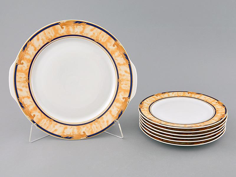 Фото Набор для торта Леандер 7 предметов на 6 персон, с десертной тарелкой 19 см, Форма Сабина Дезире
