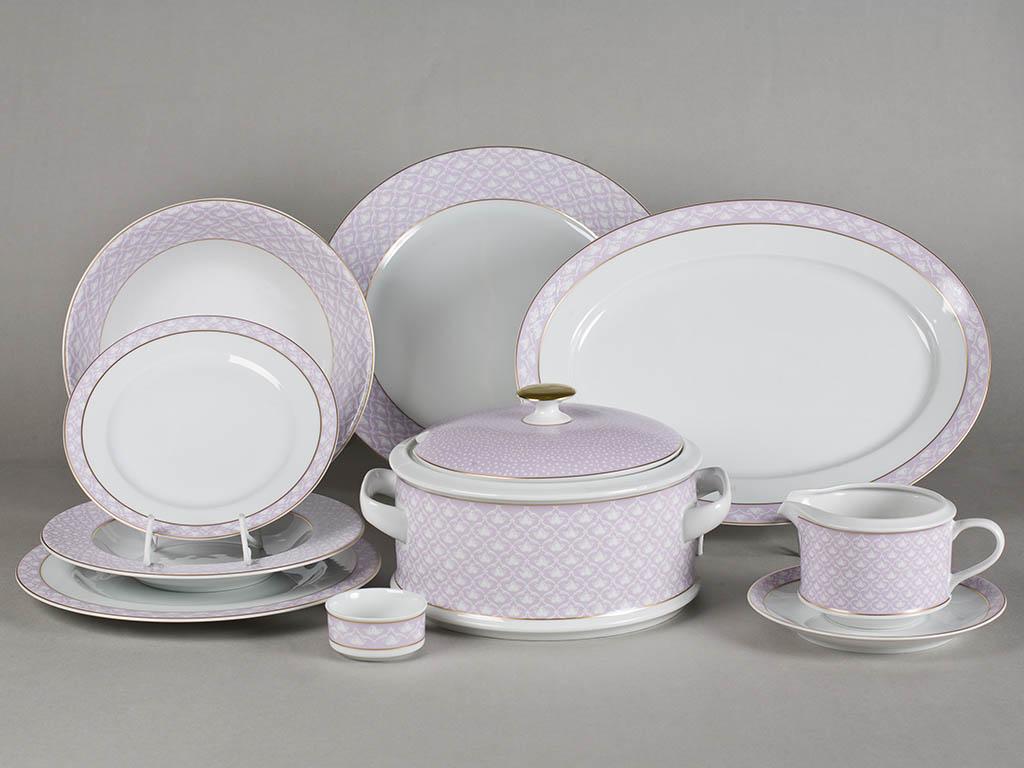 Фото Сервиз столовый Леандер 25 предметов на 6 персон, Форма Сабина Сиреневая лилия