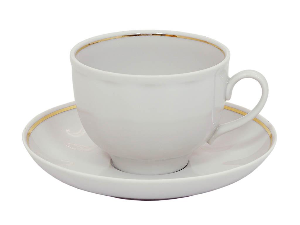 Фото Чашка чайная с блюдцем 250 мл Гранатовый Отводка золотом